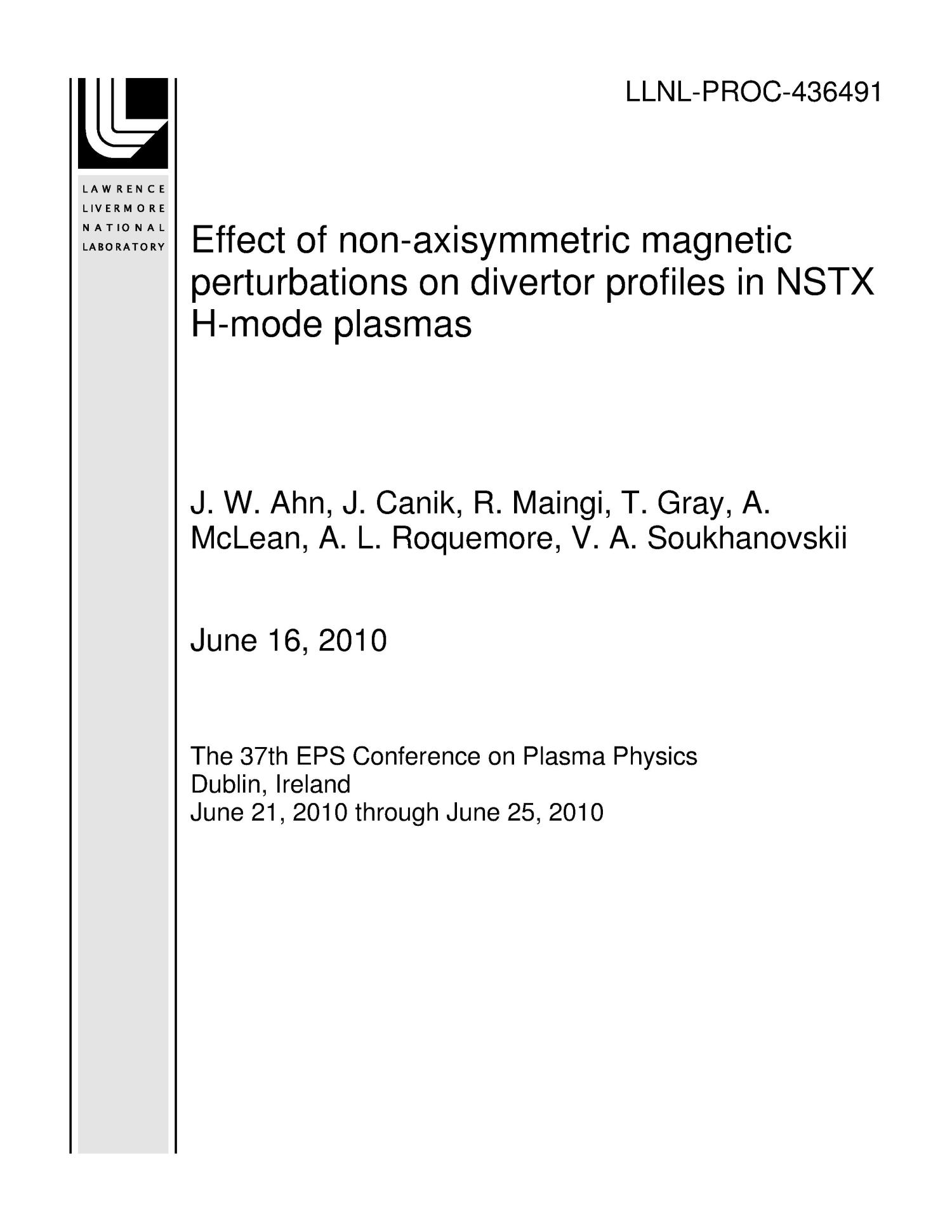 Effect of non-axisymmetric magnetic perturbations on divertor profiles in NSTX H-mode plasmas                                                                                                      [Sequence #]: 1 of 6