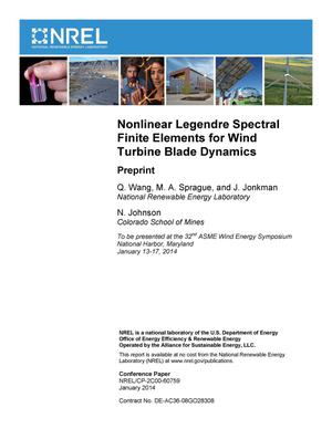 Primary view of object titled 'Nonlinear Legendre Spectral Finite Elements for Wind Turbine Blade Dynamics: Preprint'.