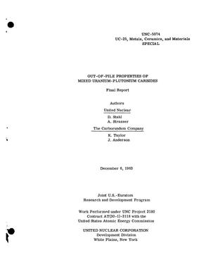 Primary view of object titled 'OUT-OF-PILE PROPERTIES OF MIXED URANIUM-PLUTONIUM CARBIDES. Final Report'.