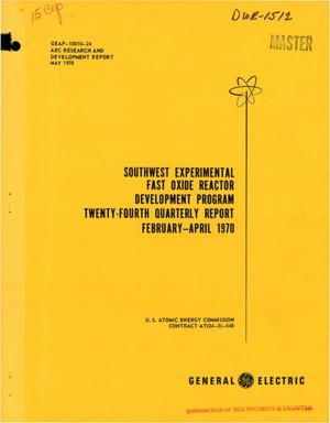 Primary view of object titled 'Southwest Experimental Fast Oxide Reactor Development Program. Twenty- Fourth Quarterly Report, February--April 1970.'.