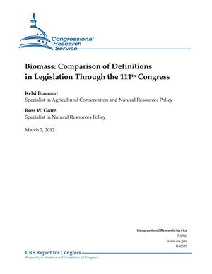 Biomass: Comparison of Definitions in Legislation Through the 111th Congress