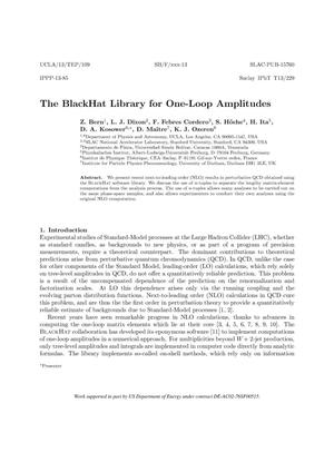 Primary view of object titled 'The BlackHat Library for One-Loop Amplitudes'.