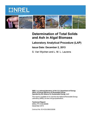 Primary view of object titled 'Determination of Total Solids and Ash in Algal Biomass: Laboratory Analytical Procedure (LAP)'.