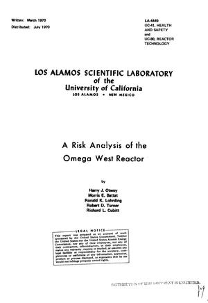 Primary view of object titled 'A Risk Analysis of the Omega West Reactor.'.