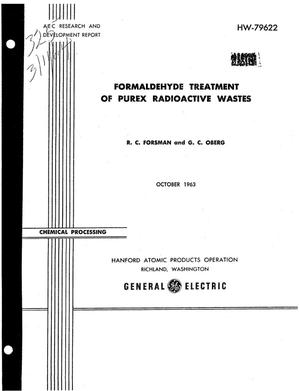 Primary view of object titled 'FORMALDEHYDE TREATMENT OF PUREX RADIOACTIVE WASTES'.
