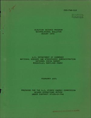 Primary view of object titled 'ALEUTIAN SEISMIC PROGRAM, SEISMOLOGICAL BULLETIN, AUGUST 1970.'.
