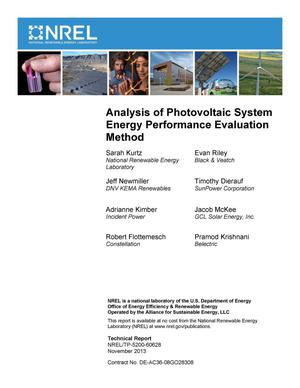 Primary view of object titled 'Analysis of Photovoltaic System Energy Performance Evaluation Method'.