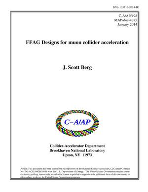 Primary view of object titled 'FFAG Designs for Muon Collider Acceleration'.