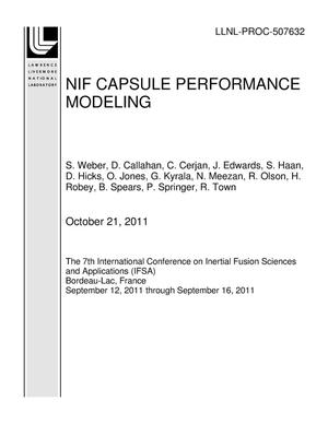 Primary view of object titled 'NIF CAPSULE PERFORMANCE MODELING'.
