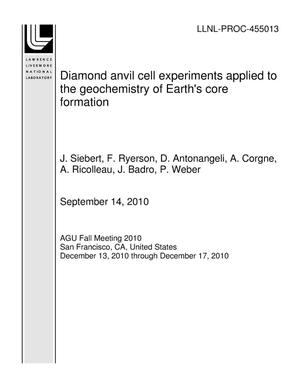 Primary view of object titled 'Diamond anvil cell experiments applied to the geochemistry of Earth's core formation'.