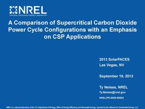 Primary view of object titled 'A Comparison of Supercritical Carbon Dioxide Power Cycle Configurations with an Emphasis on CSP Applications (Presentation)'.