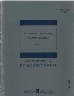 Primary view of object titled 'PROCESS CONTROL COMPUTER SYSTEM SPECIFICATION GUIDELINE.'.