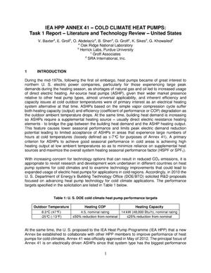 Primary view of object titled 'IEA HPP Annex 41 Cold Climate Heat Pumps: Task 1 Report Literature and Technology Review United States - ORNL/TM-2013/472'.