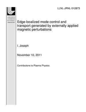 Primary view of object titled 'Edge-localized mode control and transport generated by externally applied magnetic perturbations'.