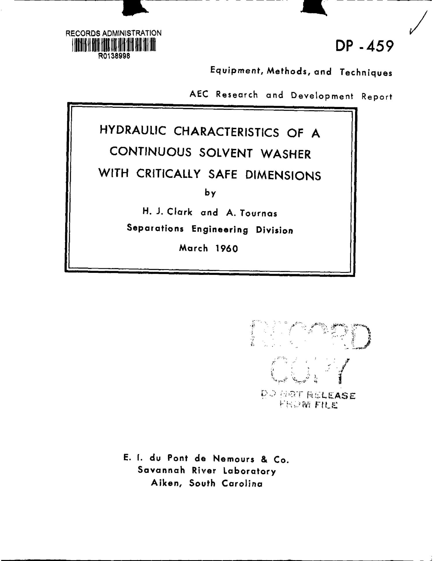 HYDRAULIC CHARACTERISTICS OF A CONTINUOUS SOLVENT WASHER WITH CRITICALLY SAFE DIMENSIONS                                                                                                      [Sequence #]: 1 of 12