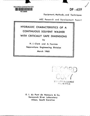 Primary view of object titled 'HYDRAULIC CHARACTERISTICS OF A CONTINUOUS SOLVENT WASHER WITH CRITICALLY SAFE DIMENSIONS'.