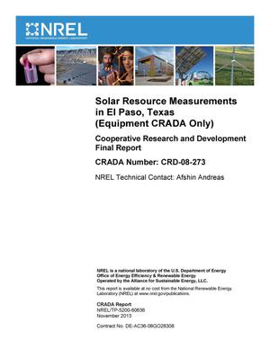 Primary view of object titled 'Solar Resource Measurements in El Paso, Texas (Equipment CRADA Only): Cooperative Research and Development Final Report, CRADA Number CRD-08-273'.