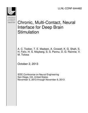 Primary view of object titled 'Chronic, Multi-Contact, Neural Interface for Deep Brain Stimulation'.