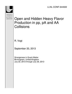 Primary view of object titled 'Open and Hidden Heavy Flavor Production in pp, pA and AA Collisions'.