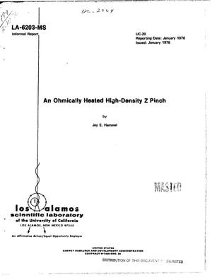 Primary view of object titled 'Ohmically heated high-density Z pinch'.