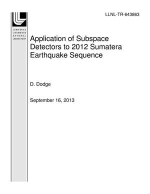 Primary view of object titled 'Application of Subspace Detectors to 2012 Sumatera Earthquake Sequence'.