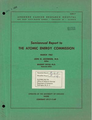 Primary view of object titled 'SEMIANNUAL REPORT TO THE ATOMIC ENERGY COMMISSION'.