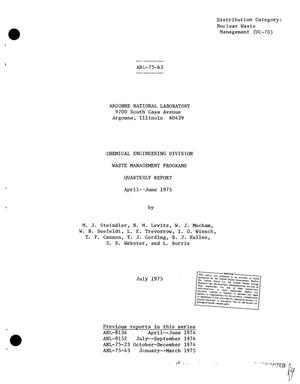 Primary view of object titled 'Chemical Engineering Division waste management programs. Quarterly report, April--June 1975'.