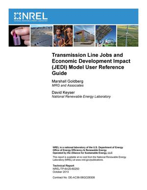 Primary view of object titled 'Transmission Line Jobs and Economic Development Impact (JEDI) Model User Reference Guide'.