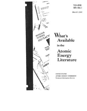 Primary view of object titled 'WHAT'S AVAILABLE IN THE ATOMIC ENERGY LITERATURE'.
