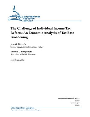 The Challenge of Individual Income Tax Reform: An Economic Analysis of Tax Base Broadening