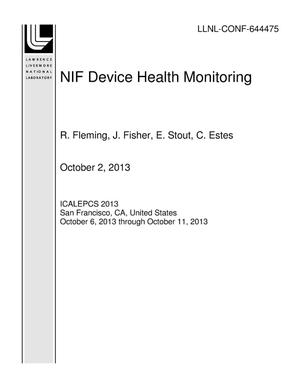 Primary view of object titled 'NIF Device Health Monitoring'.