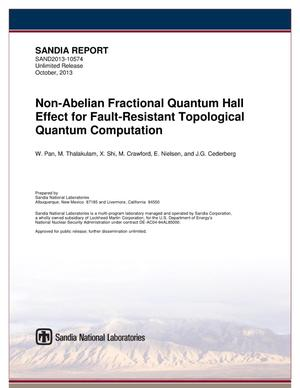Primary view of object titled 'Non-abelian fractional quantum hall effect for fault-resistant topological quantum computation.'.