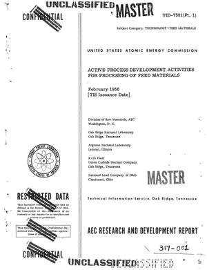 Primary view of object titled 'Active Process Development Activities for Processing of Feed Materials'.