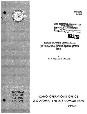 Primary view of object titled 'Radioactive Waste Disposal Data for the National Reactor Testing Station, Idaho.'.