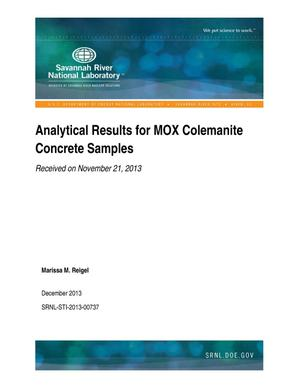 Primary view of object titled 'Analytical Results For MOX Colemanite Concrete Samples Received On November, 2013'.