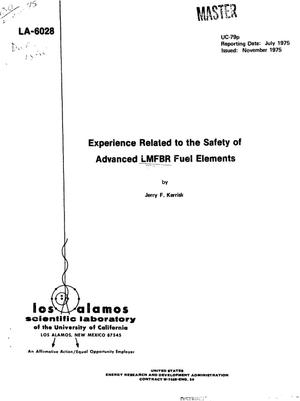 Primary view of object titled 'Experience related to the safety of advanced LMFBR fuel elements'.