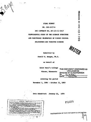 Primary view of object titled 'Experimental Study of the Surface Structure and Electronic Properties of Single Crystal Molybdenum and Tungsten Ribbons. Final Report, November 1, 1964--October 31, 1969.'.