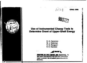 Primary view of object titled 'Use of instrumented charpy tests to determine onset of upper-shelf energy'.