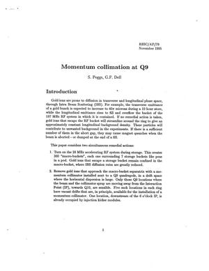 Primary view of object titled 'Momentum Collimation at Q9'.