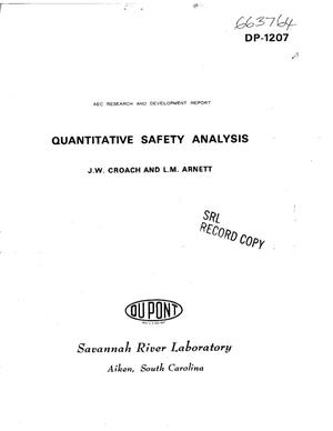 Primary view of object titled 'QUANTITATIVE SAFETY ANALYSIS.'.