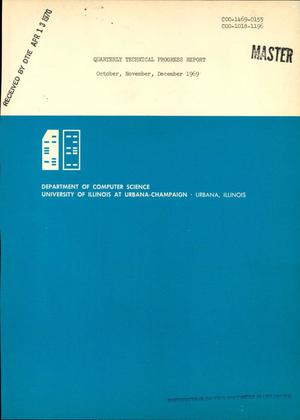 Primary view of object titled 'QUARTERLY TECHNICAL PROGRESS REPORT, OCTOBER--DECEMBER 1969.'.