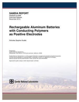 Primary view of object titled 'Rechargeable aluminum batteries with conducting polymers as positive electrodes.'.