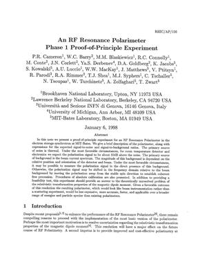 Primary view of object titled 'An RF Resonance Polarimeter Phase 1 Proof-of-Principle Experiment'.