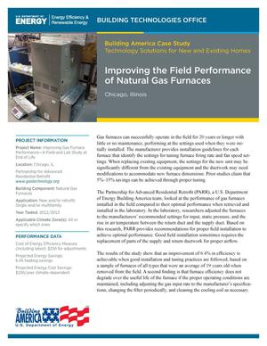 Primary view of object titled 'Improving the Field Performance of Natural Gas Furnaces, Chicago, Illinois (Fact Sheet)'.