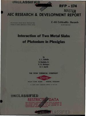 Primary view of object titled 'INTERACTION OF TWO METAL SLABS OF PLUTONIUM IN PLEXIGLAS'.