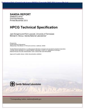 Primary view of object titled 'HPCG Benchmark Technical Specification.'.