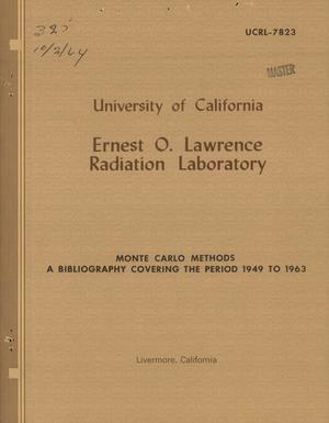 Primary view of object titled 'MONTE CARLO METHODS--A BIBLIOGRAPHY COVERING THE PERIOD 1949 TO 1963'.