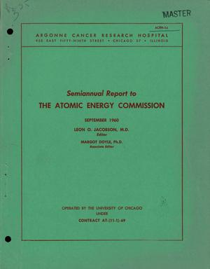 Primary view of object titled 'SEMIANNUAL REPORT TO THE ATOMIC ENERGY COMMISSION, SEPTEMBER 1960'.