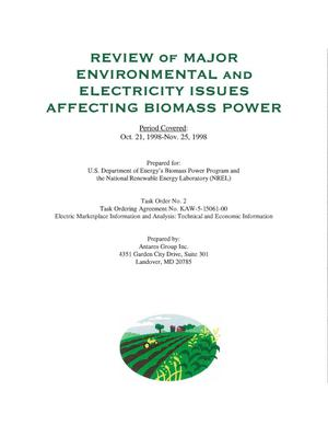 Primary view of object titled 'Review of Major Environmental and Electricity Issues Affecting Biomass Power. Period Covered: Oct. 21, 1998 - Nov. 25, 1998'.