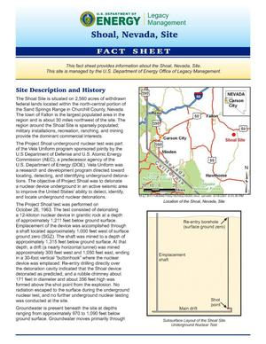 Primary view of object titled 'Shoal, Nevada Site Fact Sheet'.